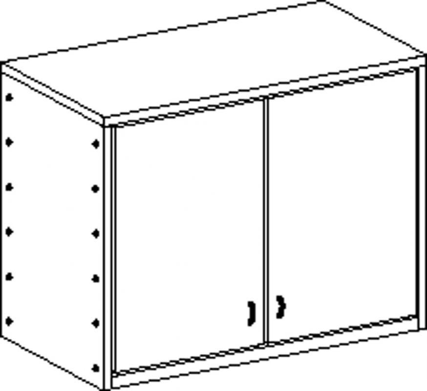 Skříňka bez soklu dvoudveřová se 2 policemi