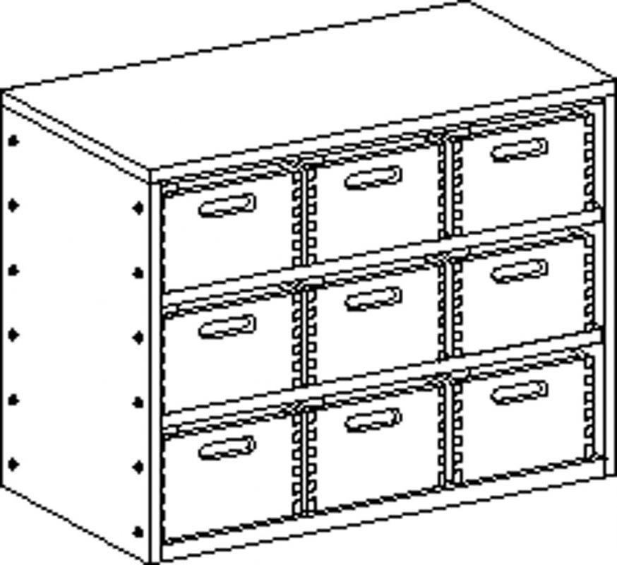 Skříňka bez soklu se 2 policemi a 9 volnými zásuvkami