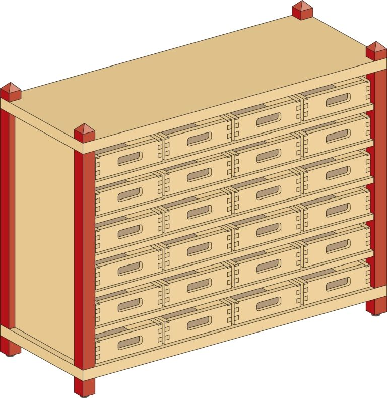 Skříňka s 5 vloženými policemi a 24 volnými zásuvkami