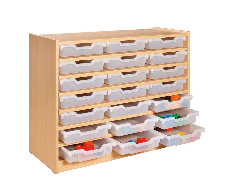Skříňka se 6 policemi a 21 plastovými zásuvkami