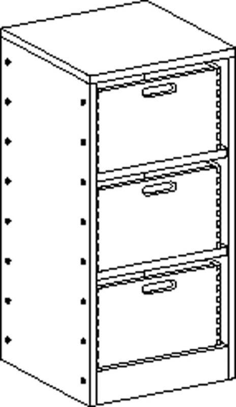Skříňka se soklem se 2 policemi a 3 volnými zásuvkami