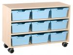 Skříňka se 2 vloženými policemi a 9 plast. zásuvkami