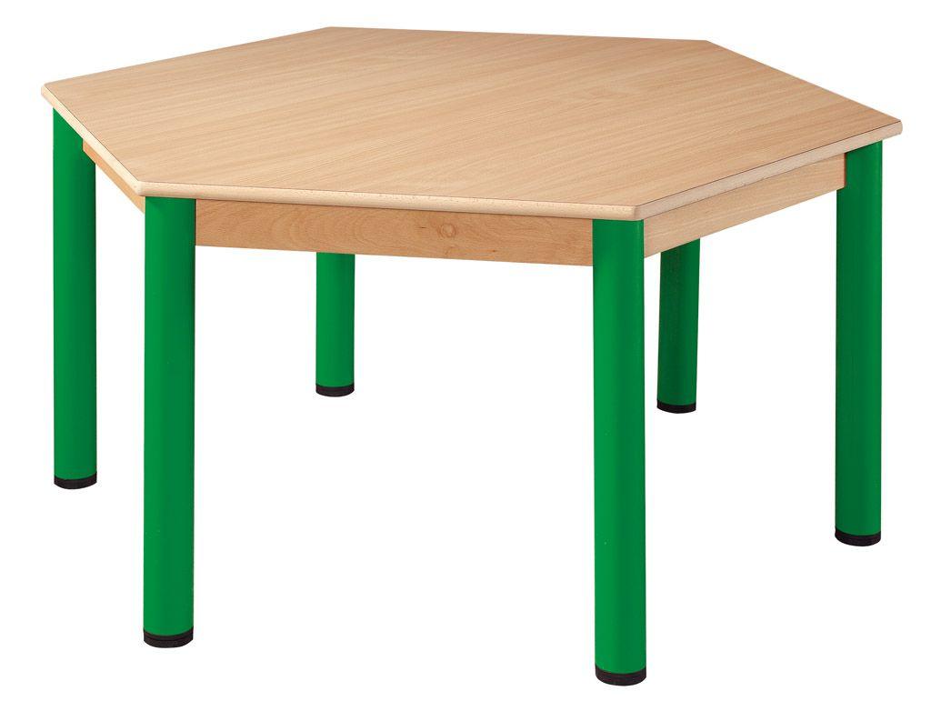 Stůl šestistranný prům. 120 cm / kovové nohy s rektifikační patkou