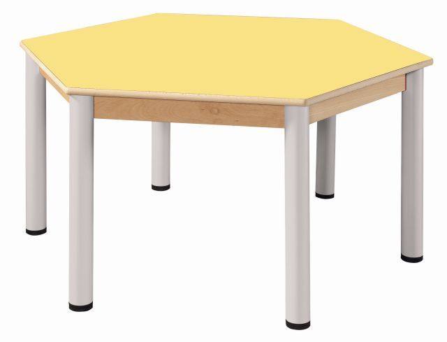 Stůl šestiúhelník 120 cm / výškově stavitelné nohy 36 - 52 cm