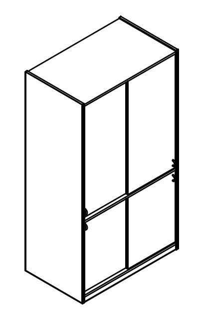Skříň policová se 4 posuvnými dveřmi