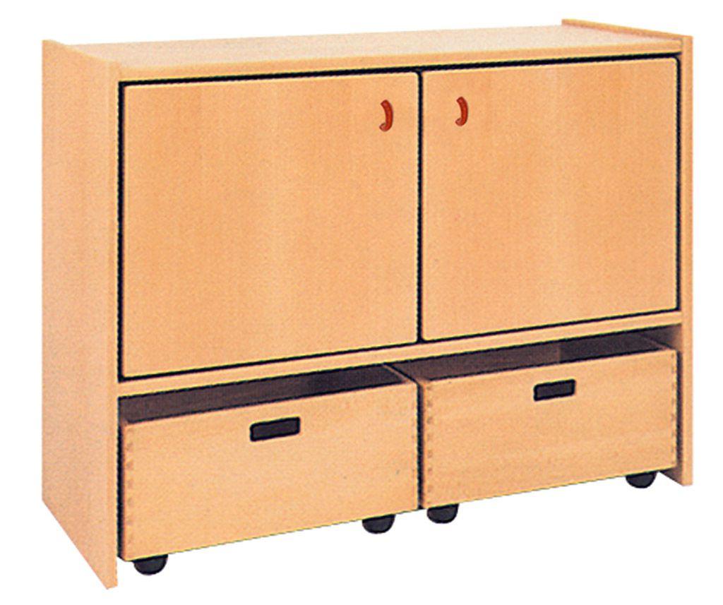 Skříňka dvoudveřová s 2 volnými zásuvkami
