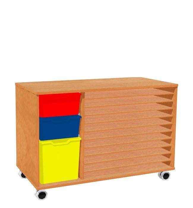 Skříňka s 10 policemi na papíry A2 a se 3 plastovými zásuvkami, kolečka MIKI ROLL
