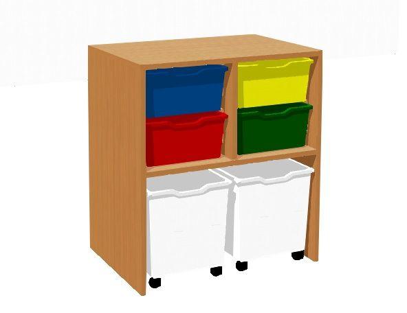 Skříňka s 4 plastovými zásuvkami a 2 zásuvkami na kolečkách TVAR v.d. Klatovy