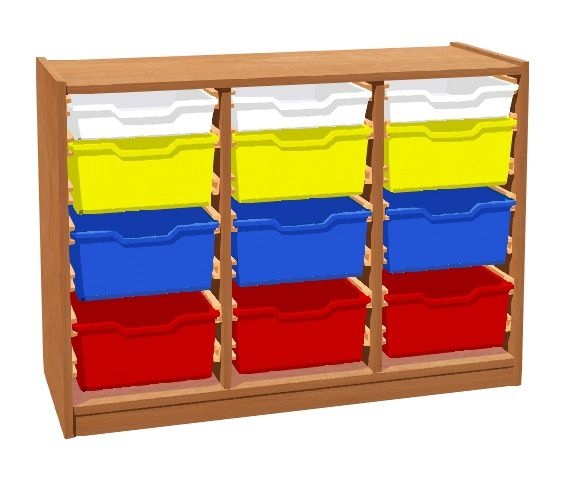 Skříňka s 9+3 plastovými zásuvkami TVAR v.d. Klatovy