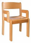 Židle s područkou - mořený sedák a opěrák