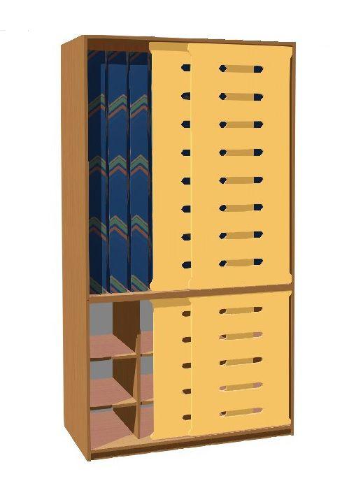 Skříň na lůžkoviny a matrace 140cm pro 10 dětí (posuv. dveře)