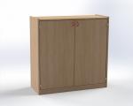 Skříňka dvoudveřová se 3 vloženými policemi, výška 100 cm