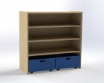 Skříňka s 2 vloženými policemi a 2 volnými zásuvkami, výška 100 cm