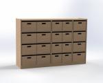 Skříňka s 20 volnými zásuvkami, výška 100 cm