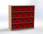 Skříňka s vloženými policemi a 16 volnými zásuvkami, výška 100 cm