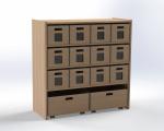 Skříňka se 1 vloženou policí a 14 volnými zásuvkami, výška 100 cm