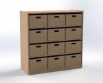 Skříňka se 3 vloženými policemi a 12 volnými zásuvkami, výška 100 cm